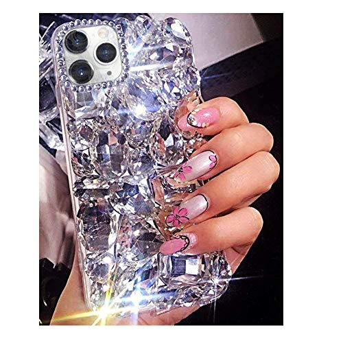 Bonitec Compatible with iPhone 12 Pro Max Case 3D Glitter Sparkle Bling Case Luxury Shiny Crystal Rhinestone Diamond Bumper Clear Gems Cute Protective Girly Case Cover for Women Girls
