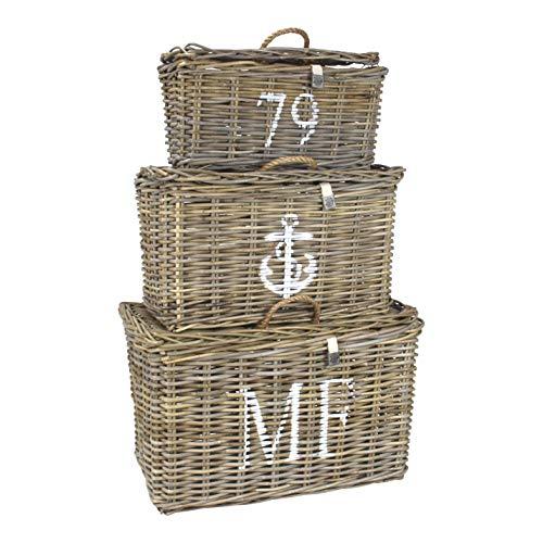 Maine Furniture Co Set Of 3 Storage Baskets I 40 x 60 x 35 CM I 3 Nested Kubu Rattan Wicker Baskets