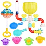 FUN LITTLE TOYS 22 PCs Bath Toys for Toddler, Flower Water Station, Bath Squirters, Stacking Cups, Rotating Spray Water Toy, Birthday Gifts for Kids