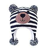 LANGZHEN Toddler Kids Infant Winter Hat,Earflap Knit Warm Cap Fleece Lined Beanie for Baby Boys (Bear -Navy Stripe, S(46-48CM/18.11