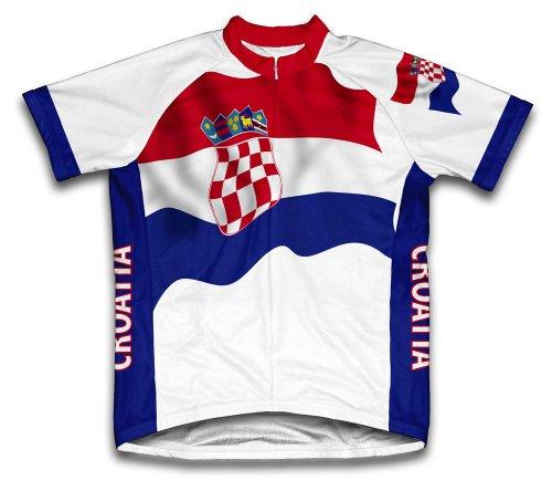 ScudoPro Croatia Flag Maillot Cycliste à Manches Courtes pour Hommes -