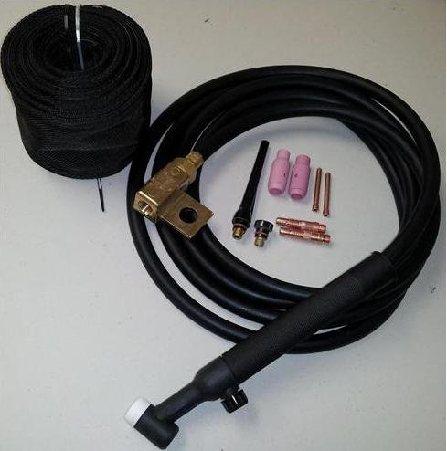 WeldingCity TIG Welding Torch WP-26FV-25R (Flexible/Gas-Valve Head) Complete Ready-to-Go Package Air-Cool 25-foot Cable 200Amp