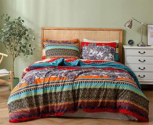 Omelas Bohemian King Duvet Cover Set Colorful Floral Boho Striped Bedding Set Super Soft Brushed Microfiber Comforter Cover Southwestern Indian Tribal Reversible Bedding Set(ALK,K,3pcs)