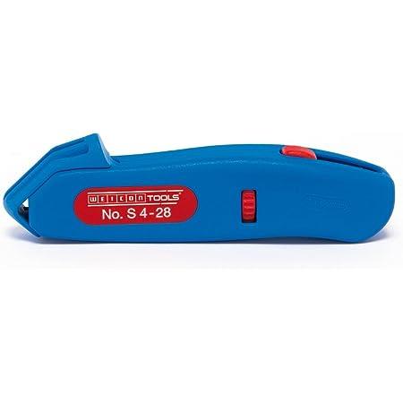 WEICON 50055328 Coltello No. S 4-28, spelacavi per Cavi tondi con Lama a Gancio, Blue/Red