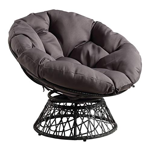 OSP Home Furnishings Wicker Papasan Chair with 360-Degree Swivel, Grey Frame with Grey Cushion