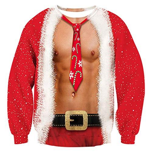 TUONROAD Pull de Noël Pullover Femmes 3D Imprimé Xmas Graphique Pull Santa Manches Longues Sweatshirts Ugly Christmas Sweater Hommes - L