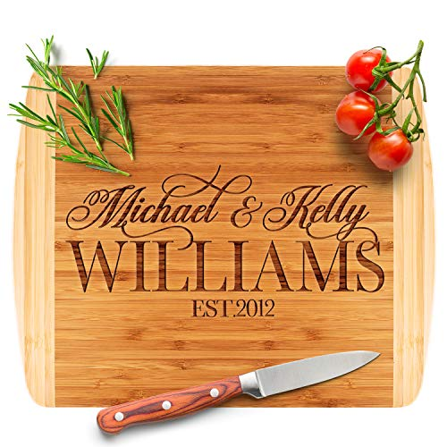 Personalized Cutting Board - 9 Design Options, Bamboo Cutting Board - Wedding Gifts for the Couple, Housewarming Gifts, Anniversary, Grandma Gifts, Engraved Kitchen Sign & Decor -2 Tone Block
