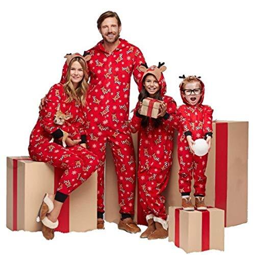 Onesies Christmas Onesies Pajamas Holiday Jumpsuits Sleepwear Reindeer Hooded Lightweight Pajama Set Non-Footed Onesies S-XL (Color : Women, Size : M)