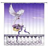 N\A Tauben-Duschvorhang-Dekor-Taube, die einen Korb des lila Blumenband-Badezimmer-Vorhangs trägtPolyester-Stoff Maschinenwaschbar mit 12-teiligen Haken