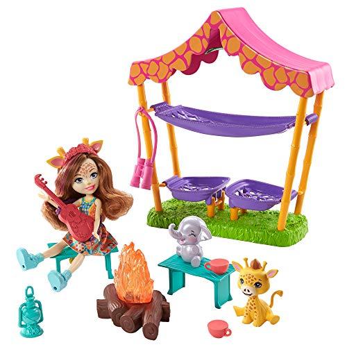 Enchantimals Sunny Savanna Gilian Giraffe Muñeca con set de acampada, mascotas y accesorios de juguete(Mattel GTM33)
