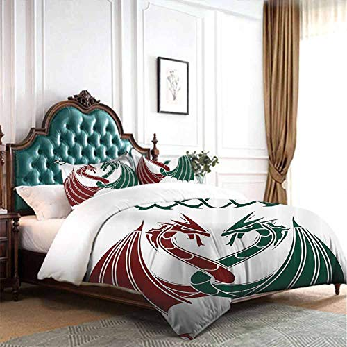 Hiiiman Comforter Bedding Set 4pcs Dragons Themed Design Mythical Early Medieval Scandinavian Celtic Castle Knights Print Queen Size W90 INCH x L90 INCH 2 Pillow Sham