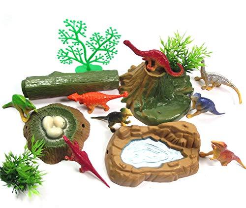 FADACAI 12 Stücke Kunststoff Dinosaurier Modell Action Figure Spielzeug Kinder Sand Tabelle Landschaft Zubehör