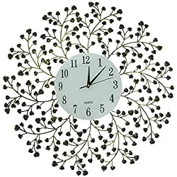 Lulu Decor, 24.50 Spring Blooms Decorative Metal Wall Clock with Golden and Black Metal Frame & White Number Dial