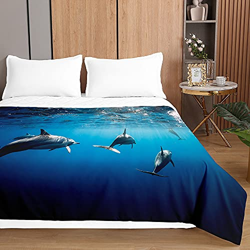 Colcha de Verano Cubrecama Colcha Bouti, Chickwin 3D Delfín stampada Edredón Manta de Dormitorio Suave Ligero Multiuso Colchas para Cama Infantil Individual Matrimonio (Oceano delfín,180x220cm)