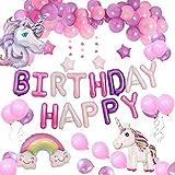 Yidaxing Decorazioni per Feste Unicorno Enorme Palloncino Unicorno Buon Compleanno Ballon Banner Palloncino Macaron per l'infanzia Ragazza Festa di Compleanno della Signora, Matrimonio (Unicorno)