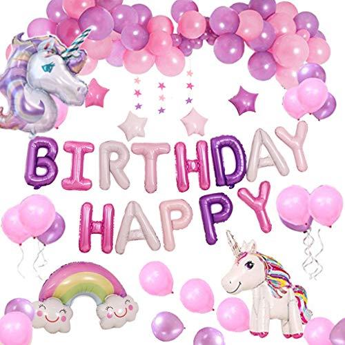 Yidaxing Unicorn Party Decorations Fournitures, Avec 2pcs Énorme Licorne Balloon, Joyeux Anniversaire Ballon bannière et 50pcs Ballons Party Latex Filles Enfants Enfant(Licorne) (Violet)