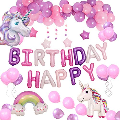 Yidaxing Unicorn Party Decoratie Leveringen, met 2 reuzenballon, felicitatiebal, verjaardag, banner en 50 ballonnen, latex, meisjes, kinderen (paars)