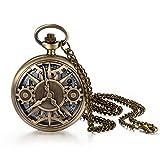 JewelryWe Reloj de bolsillo de cuarzo reloj gótico color bronce