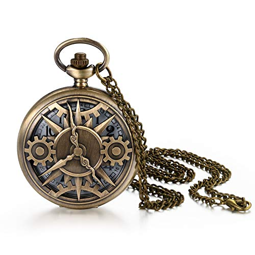 JewelryWe Vintage Pocket Watch Cool Gear Steampunk Retro Pendant Necklace Watch for Men Women, for Xmas