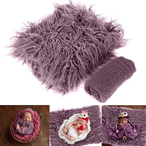 DaMohony - 2Pcs Manta Bebés Fotografía Accesorios Envoltura de Ondulación Recién Nacidos Mantas Suave Foto Bebé Edredón Tapete Regalo 30x40cm Violeta
