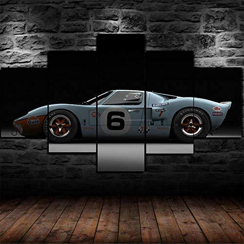 QQWW Cuadro Moderno En Lienzo,5 Piezas XXL Ford GT40 Le Mans 1969 Classic HD Abstracta Pared Imágenes Modulares Sala De Estar Dormitorios Decoración para El Hogar
