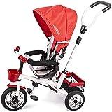 Ricokids Dreirad Fahrrad Kinderwagen für Kinder mit Sonnendach grau-rot