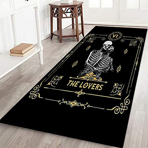 ChYoung Halloween Rutschfester Fußmatten-Paar-Skelett-bedruckter Flanell-Teppich mit wasserabweisendem Gummirücken für Küche und Bad
