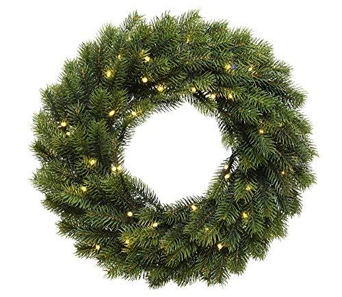zeitzone LED Tannenkranz beleuchtet Weihnachten Weihnachtskranz mit Timer Batterie Ø 40cm