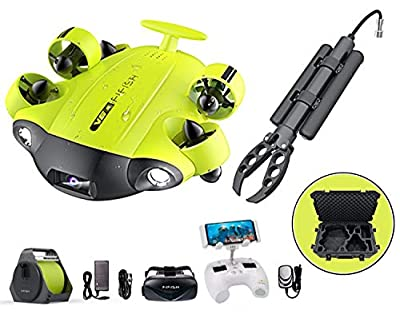 QYSEA FIFISH V6S Underwater Drone - Robotic Arm Claw + VR Box + 100M Cable + Spool + 64G SDcard + Industrial Case Bundle