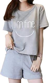 [エアバイ] I'm fine セットアップ ショーパン Tシャツ&短パン ルームウェア パジャマ セット レディース M~2XL