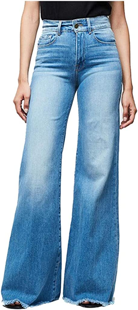 aihihe Bell Bottom Pants Jeans for Women High Waisted Vibrant Wide Leg Bootcut Slim Denim Jeans Pants Trousers