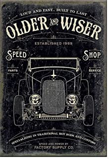 """ART/ARTWORK FEATURED ON A MAGNET – Licensed Collectibles, Nostalgic, Vintage, Antique And Original Designs – GREAT AUTOMOBILE CAR GARAGE THEME [354211963] – """"Older & Wiser Speed Shop: Loud And Fast – Built To Last [30's hot rod]"""" [great image and stylish design] [TSFD]"""