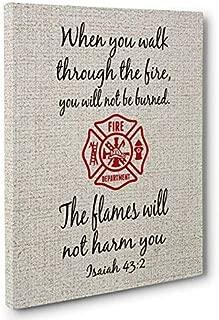 Firefighter Bible Verse Motivational Canvas Wall Art