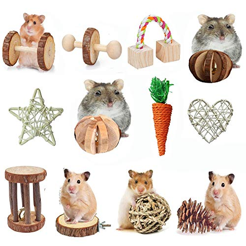 AWITHZ Hamster Chew Toys, Guinea Pig Toys Natural Wooden Pine Rats Chinchillas Toys Accessories Dumbells Exercise Bell Roller Teeth Care Molar Toy for Birds Bunny Rabbits Gerbils (Toy-4)
