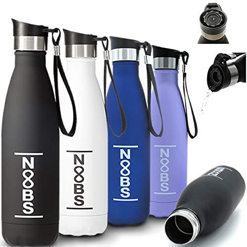 Noobs Premium Trinkflasche Edelstahl 500ml (Blau) mit praktischem Trinkdeckel. Auslaufsicher, Thermosflasche für Kinder, Sport, Freizeit, Outdoor, Fahrrad, Auto, Thermoskanne für Tee und Kaffee