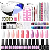 36W UV/LED Lámpara Secador de Uñas 12PCS Esmalte Semipermanente Kit Uñas de Gel Primer Uñas Top Coat DIY Uña Arte Kit para Manicura Pedicura (Set 006)