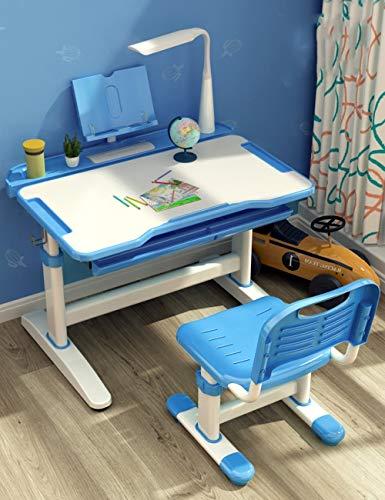 LLA salontafels kinderbureau, computerbureau, kantelbare tafel, uitschuifbare lade, ergonomisch ontwerp. (Alleen tabel), Blauw