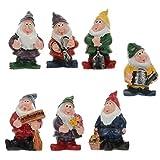 STOBOK 7 Pcs Mini Gnomes Fee Garten Zubehör Set Sieben Zwerge Statue mit Blumen Und Werkzeuge für Dekoration Kleine Ornamente Kuchen Topper Decor