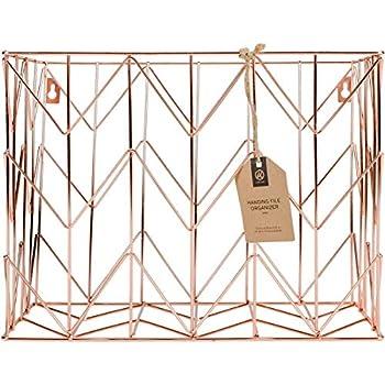 U Brands Hanging File Desk Organizer Wire Metal Copper/Rose Gold - 854U02-06