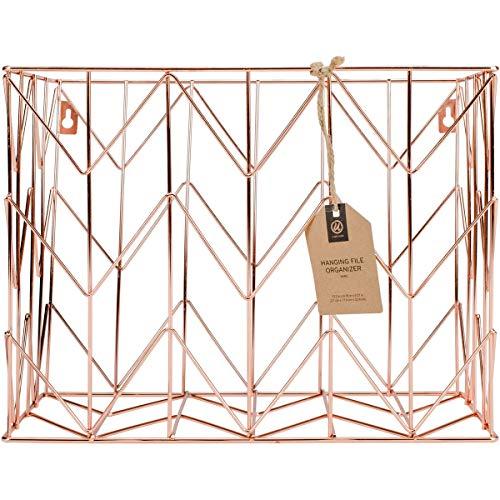 U Brands Hanging File Desk Organizer, Wire Metal, Copper/Rose Gold - 854U02-06