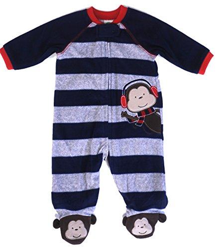 Little Me Ear Muff Monkey Blanket Sleeper (3 Months) Gray/Blue
