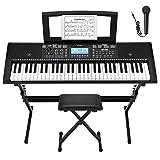 Donner Kit de Teclado Piano Electrico 61 Teclas, Organo Electronico Piano Digital Professional con Soporte de Piano/Banco/Atril de Partituras/Micrófono, DEK-610S