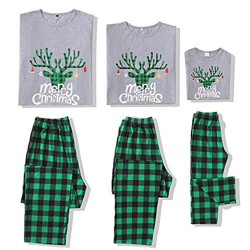Merry Christmas Family Matching Pajamas Set Sleepwear Pants Set Baby 3-6 Months Green