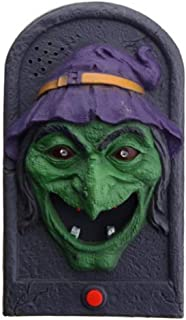 Aoukey Lightup Talking Doorbell for Halloween Decoration Trick or Treat Event Luminous Sound Witch Vampire