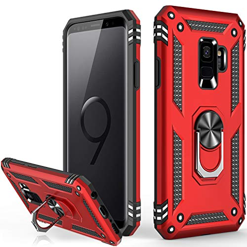 Galaxy S9 Case,Military Grade 16ft. Drop Tested Dual Layered Heavy Duty Cover with Magnetic Ring Kickstand Compatible with Car Mount Holder,Protective Phone Case for Samsung Galaxy S9 Red