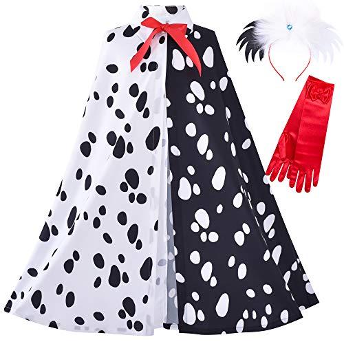 Sunny Fashion Mädchen Halloweenkostüm Zum Dalmatiner Mantel Perücke Stirnband rot Handschuhe Gr. 98-104