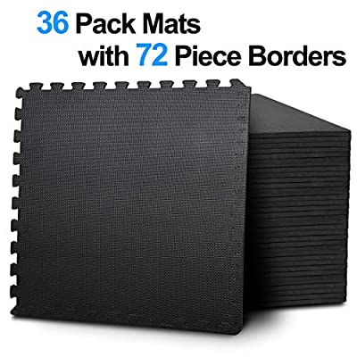 ZENY Interlocking EVA Foam Mats with Borders,Puzzle Exercise Floor Mat 36 Tiles 144 sq',Protective Flooring for Gym Equipments and Cushion for Workouts,Home Gym Mats