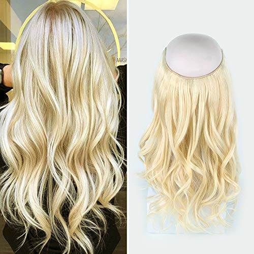 Sassina 16inch Fish Line Remy Human Hair Extensions 100g Double Weft Hairpiece with Fishing String, Color Platinum Ash Blonde Halo Extensions #60