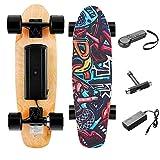 Casulo 25,4 '' Skateboard Électrique avec Télécommande sans Fil, Planche à roulettes Électrique Vitesse de Maximale de 20 km/h, Moteur de 350 W pour Enfants/Adolescents et Adultes(Noir)