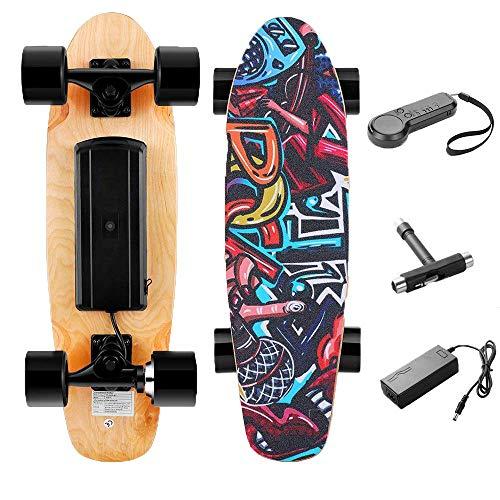 H2S Monopatín Mini Skateboard Eléctrico con Control Remoto para Adulto/Juventud/Niños,Motor 350W, Velocidad Máx 20 km/h, Autonomía de 8 km